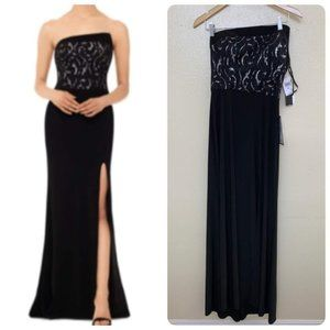 Betsy & Adam Strapless Lace Slit Gown B184  $149